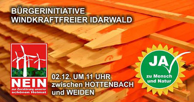 Aktiv werden: Mahnpfähle gegen Windräder im Idarwald